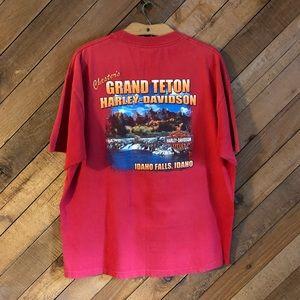 Harley Davidson red Idaho Falls tee with pocket